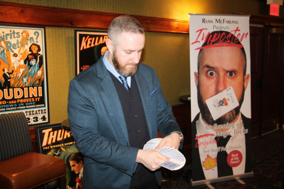 Illusionist Ryan McFarling gives a preview of 48 weekly local magic shows at The Water Tower Inn, Jan. 29, 2019. Darren Taylor/SooToday