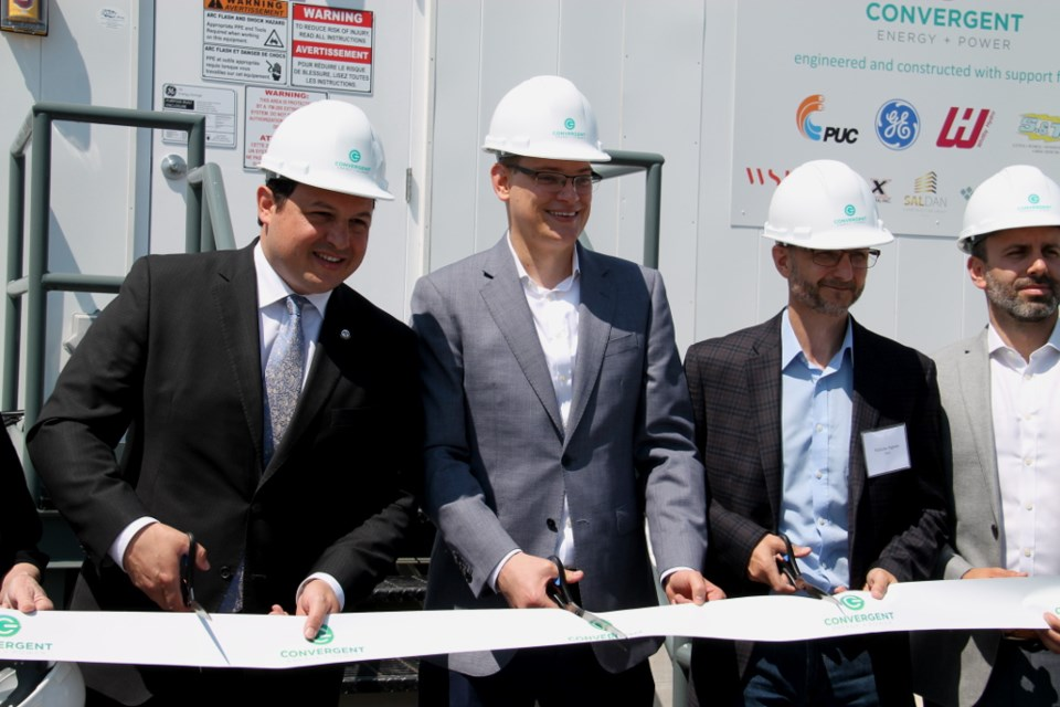 Sault Mayor Christian Provenzano with Convergent Energy and Power officials at Convergent's soon-to-open energy storage facility in Sault Ste. Marie on July 19. Darren Taylor/SooToday
