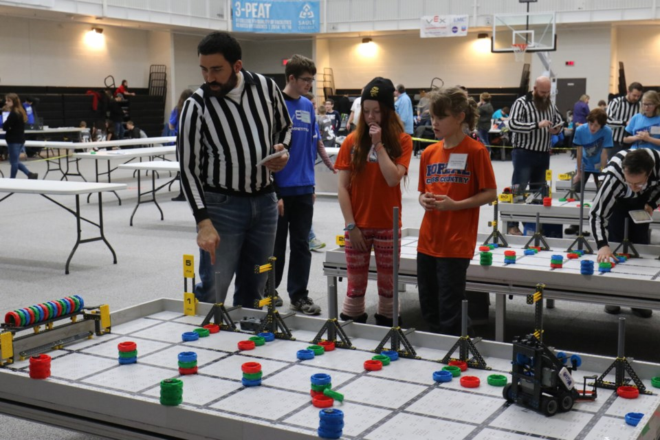 Local robotics teams duked it out Friday night during the VEX IQ Skills Challenge at Sault College. James Hopkin/SooToday