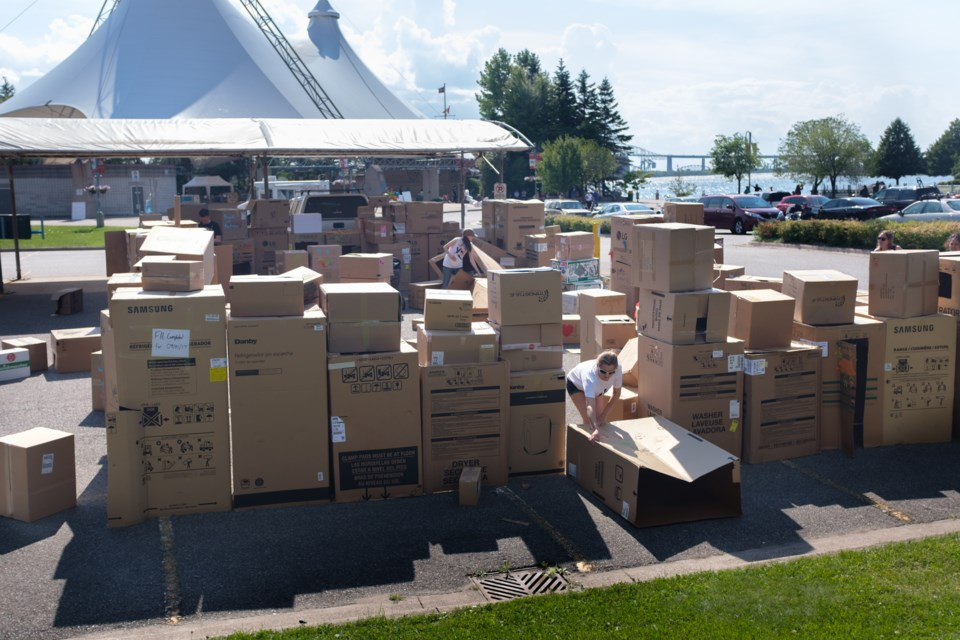 Youth-run organization Youth Odena organized the construction of 'the Sault's Biggest Community Box Fort' in conjunction with Fringe North on Sunday. Jeff Klassen/SooToday