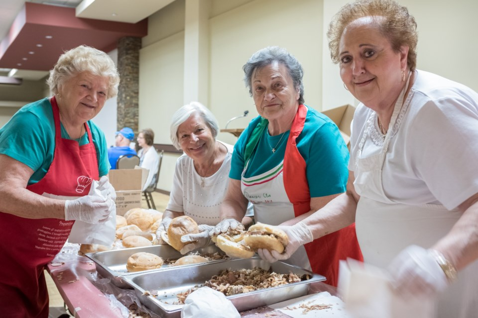 From now on we'll refer to them as 'The Porketta Sisters'. Elettra Marconi members Ermes Camerini, 85, Sandra Damignani, 80, Anna Nardini, 80, and Marzia Tonucci, 70 are Italian immigrants most of whom have been serving sandwiches at the Italian Festival since 1982 they say. Jeff Klassen/SooToday