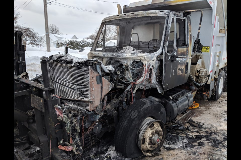 A plow truck was destroyed by fire this morning. Darren Taylor/SooToday