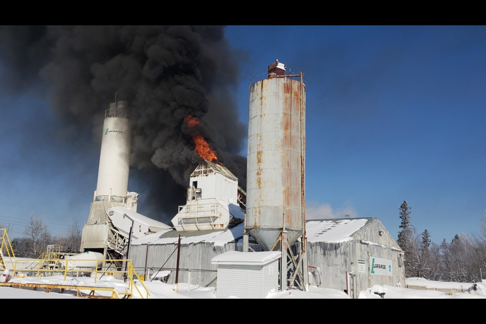 Fire crews are on the scene of a fire at Lafarge in Industrial Park. Submitted photo