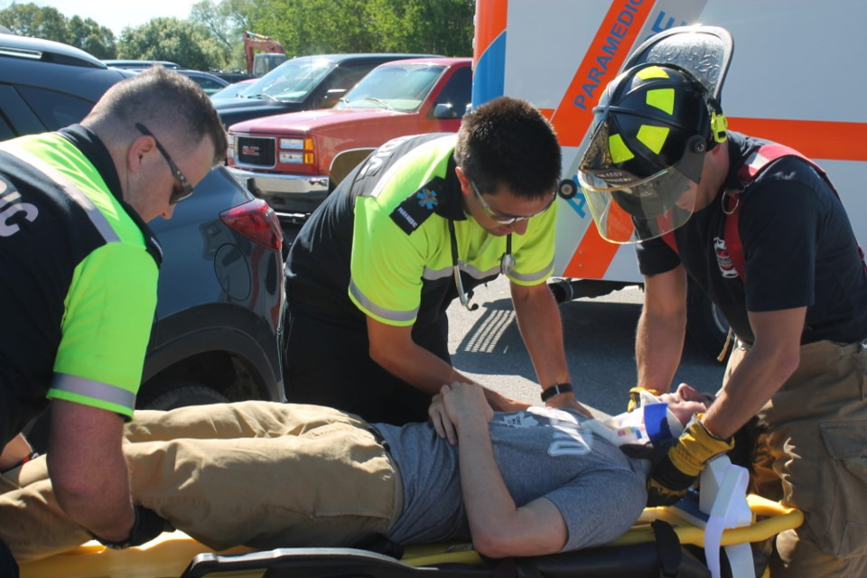 Sault EMS paramedics, Fire Services, Police and Teens Learn to Drive educators spoke to high school students at Korah Collegiate about the potentially tragic results of dangerous driving, June 6, 2017.  Darren Taylor/SooToday