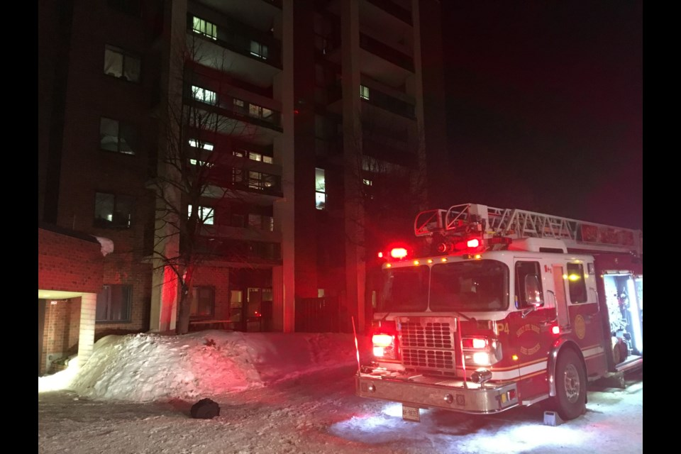 Sault Ste. Marie Fire Services responded to a fire in one of the Columbus Club of Sault Ste. Marie apartment buildings off Northern Ave. on Wednesday. Darren Taylor/SooToday