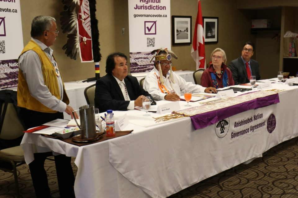 Left to right: Anishinabek Nation Regional Grand Council Chief (Northern Superior Region) Ed Wawia, Anishinabek Nation Chief Negotiator Martin Bayer, Anishinabek Nation Grand Council Chief Glen Hare, Crown-Indigenous Relations Minister Carolyn Bennett and federal negotiator Murray Pridham. James Hopkin/SooToday