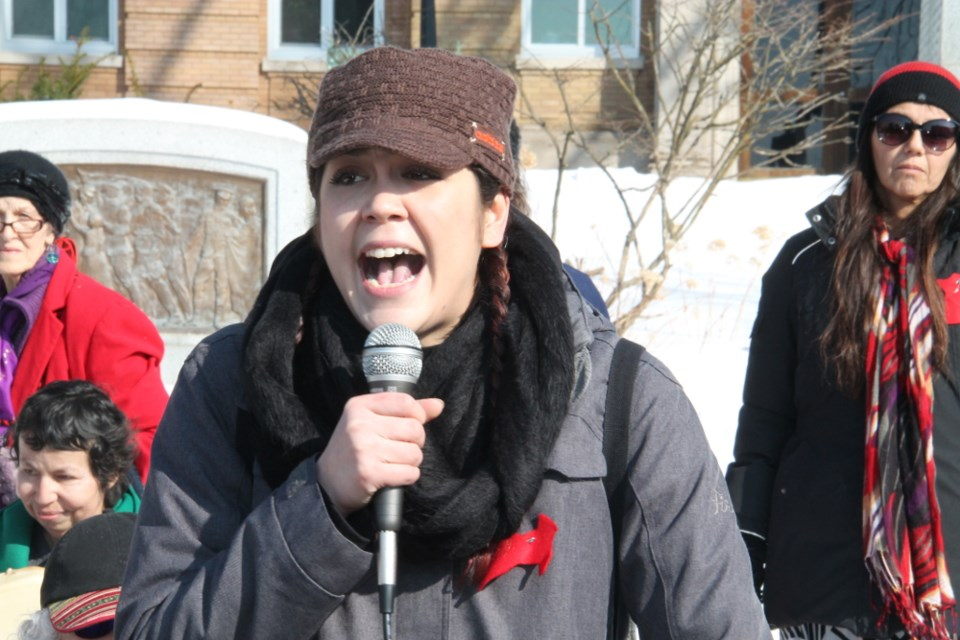 Caceila Trahan addresses an audience outside the Sault Ste. Marie Courthouse at the 11th Annual Memorial March for Missing and Murdered Indigenous Women and Girls, Feb. 14, 2018. Darren Taylor/SooToday