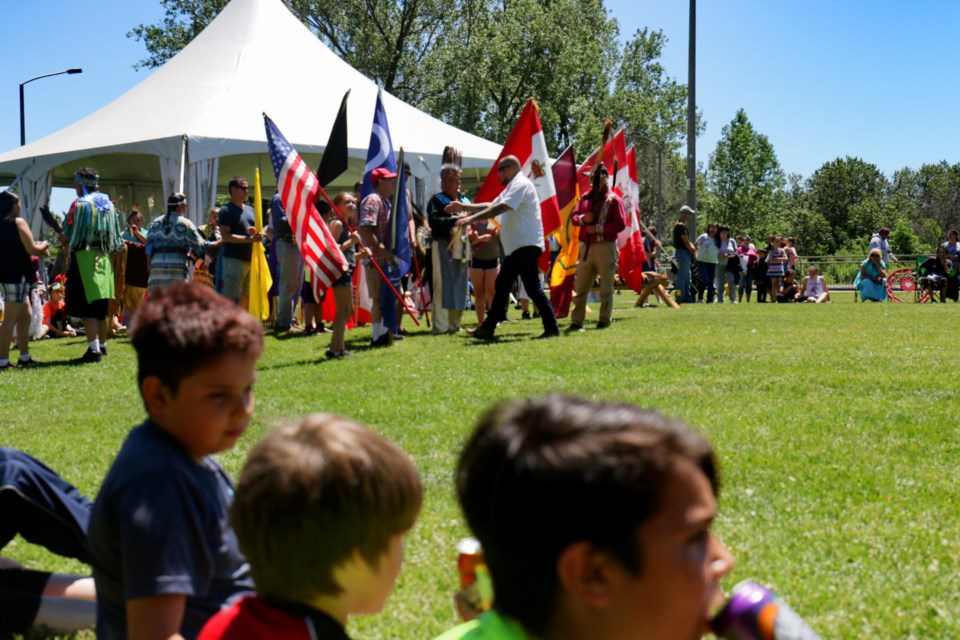 People were taking in the sights and sounds of National Anishinaabe Day festivities at the locks Thursday. Kids activities, vendors and a pow wow highlighted this year's event. James Hopkin/SooToday