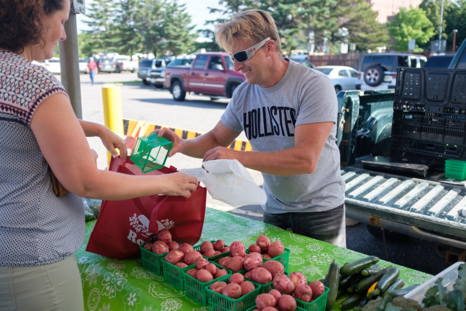 Jeff Marhsall has been selling at the Algoma Farmer's Market for 35 years. 'When I was first starting out, another seller didn't like that my tomatoes were outselling his so he jumped over the table and tried to strangle me. I was only 15-years-old and he was 30-40. Luckily a firefighter was there and pulled him off me.'