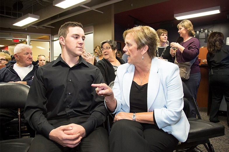 Mayor Debbie Amaroso speaks to Mac Marcoux immediately before a ceremony on September 18, 2014 at the Essar Centre where he and his brother (not present)received a marker on the Sault Ste. Marie Walk of Fame. Kenneth Armstrong/SooToday.com