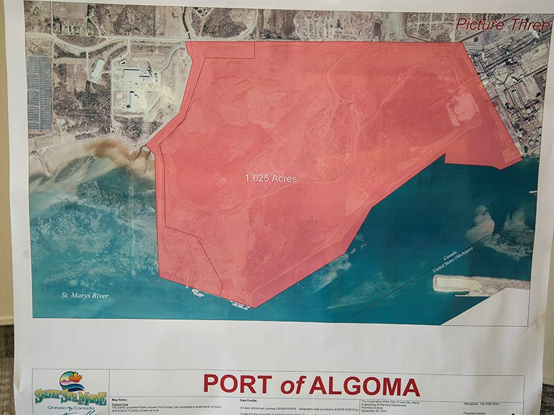 A map showing the proposed Port of Algoma seen on September 26, 2014 at the Civic Centre in Sault Ste Marie.Kenneth Armstorng/SooToday