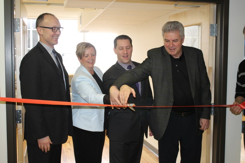 SSMIC Executive Director Tom Vair, Mayor Debbie Amaroso, Sault MPP David Orazietti and Sault MP Bryan Hayes at Tuesday's ribbon cutting