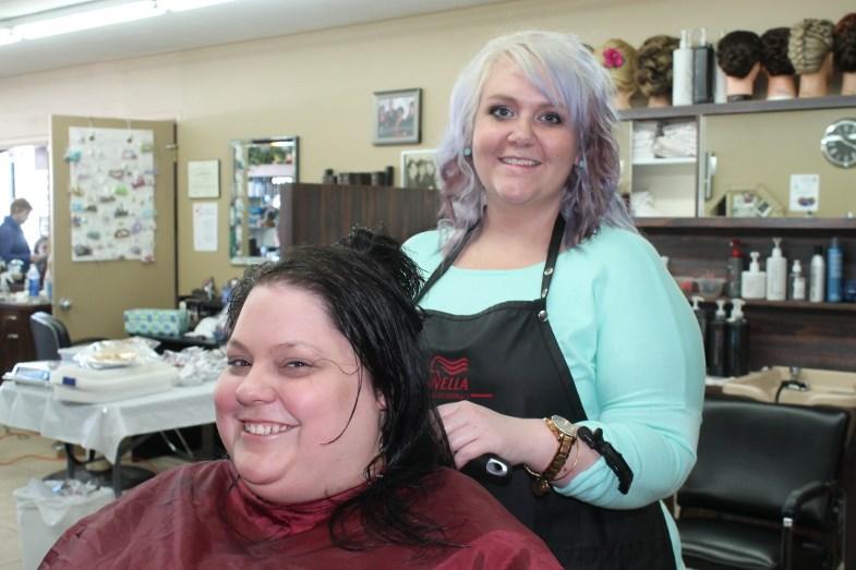 Stylist Kristyn Rathbone and customer Stacey Tulloch