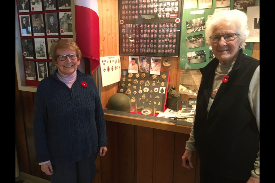Ruby Farmer and Iris Chalmers, two Sault women who served with the Royal Canadian Air Force (RCAF) in the Second World War, at Royal Canadian Legion Branch 25, Nov. 2, 2017. Darren Taylor/SooToday