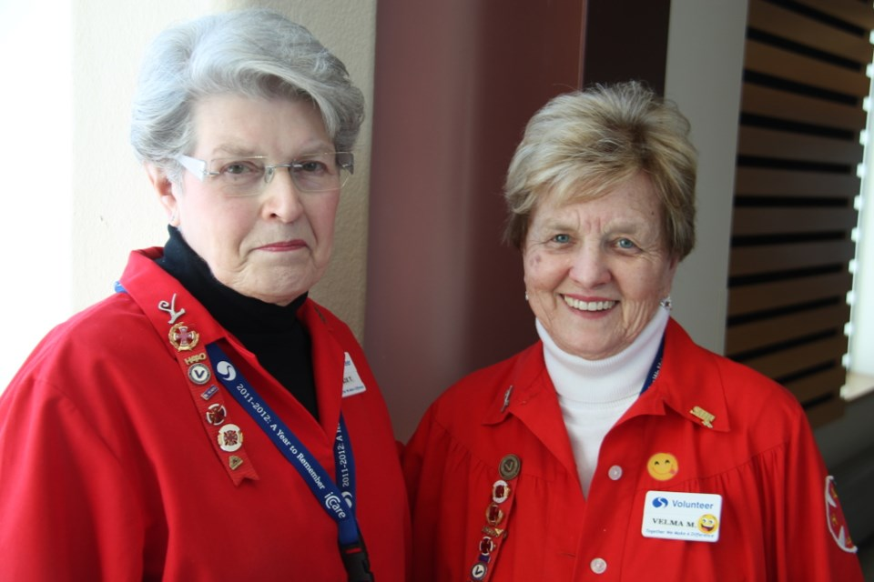 Jackie Tomchak and Velma McClelland have served as Sault Area Hospital (SAH) volunteers for a combined total of 55 years and 33,000 hours. Darren Taylor/SooToday