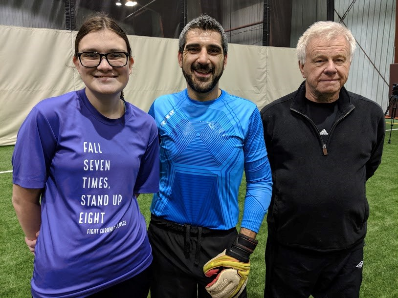 Emily Wilkinson with Sault MPP Ross Romano and her grandfather Clive Wilkinson, a well known local soccer figure, at an event to raise awareness for dysautonomia, Nov. 7, 2018. Darren Taylor/SooToday