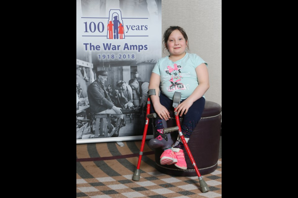 9 year-old Ciara Pelletier-Lebouef recently attended the War Amps 2018 Ontario Child Amputee (CHAMP) seminar in Toronto. War Amps helps finance devices and surgeries for Ciara, who lives with Focal Femoral Hypoplasia, a rare condition that has affected the growth of her right leg. Photo supplied by Christina Lebouef