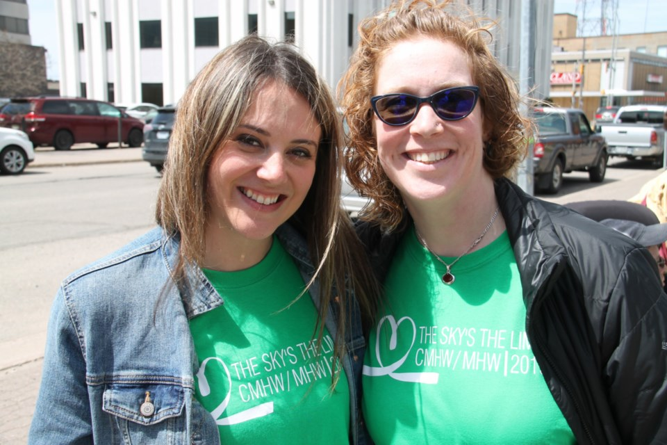 Kaitlin Pelletier Elite Dance Force co-owner  co-director and Valerie King Algoma Family Services family engagement worker at the Child Youth and Adult Mental Health week kickoff ceremony held outside the Sault Ste. Marie Courthouse