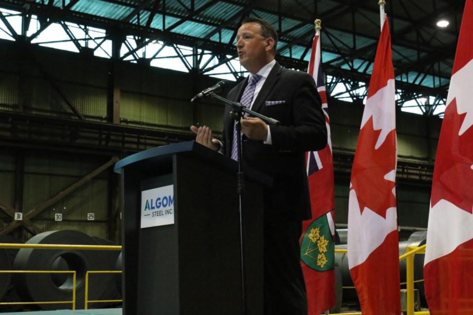 Ontario Northern Development Minister Greg Rickford announced a $60 million loan for Algoma Steel Inc. Thursday. James Hopkin/SooToday