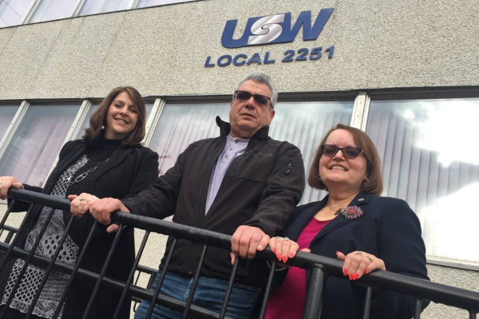 Marcy Bell from Algoma District School Board. Mike Da Prat from Steelworkers Local 2251 and Maria Esposito from Huron-Superior Catholic District School Board