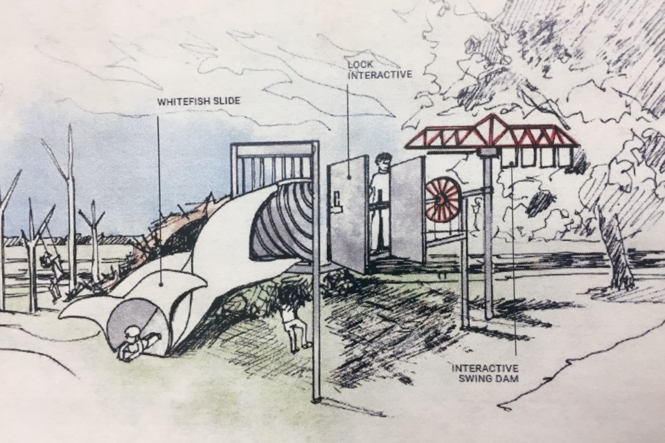 Artist's sketch of possible playground at Sault Ste. Marie Canal National Historic Site, showing a 'whitefish' slide and other play equipment based on what was once the world's longest shipping lock and the planet's only surviving emergency swing dam.  This concept is very preliminary and subject to change