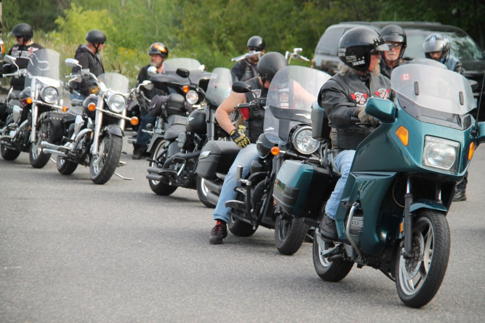 Approximately 30 bike enthusiasts from various groups took part in The Rolling Barrage to raise funds and awareness of the need for services for veterans suffering from PTSD, Aug. 13, 2019. Darren Taylor/SooToday