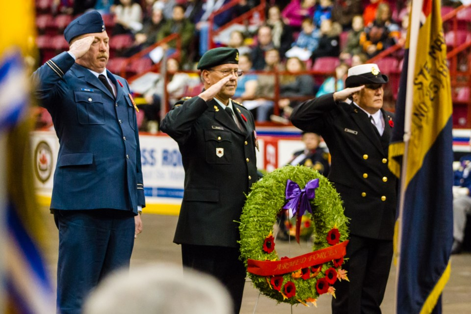 Sault Ste. Marie Remembrance Day ceremony at the Essar Centre on Nov. 11, 2017. Donna Hopper/SooToday