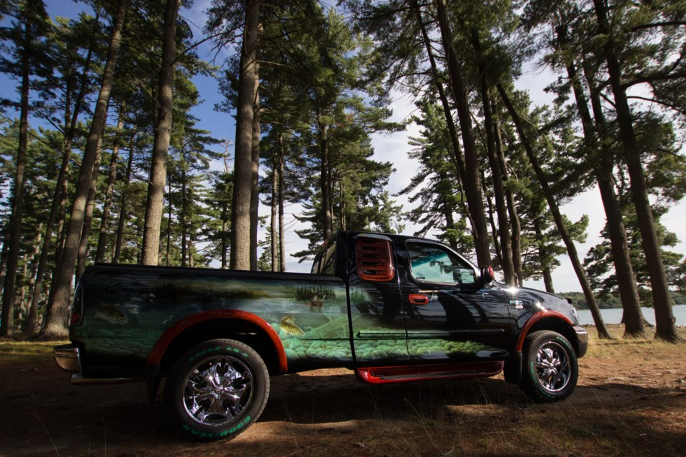 Mike Philion's 2002 Ford X150 XLT 'Walleye'. In 2009 the vehicle was given an impressive paint job by Philion's long-time friend Al Proulx. Proulx took his vehicle out to Bell's Point Campground to show it off for SooToday. Jeff Klassen/SooToday