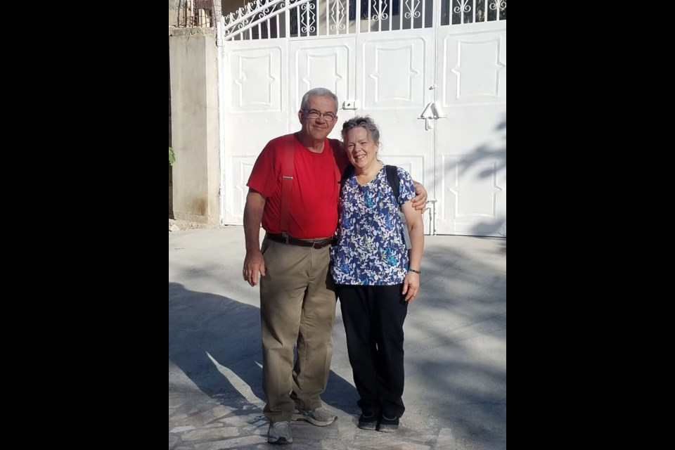 St. Joseph Island missionaries Mark and Della-Marie Caccamo in Haiti. Photo supplied