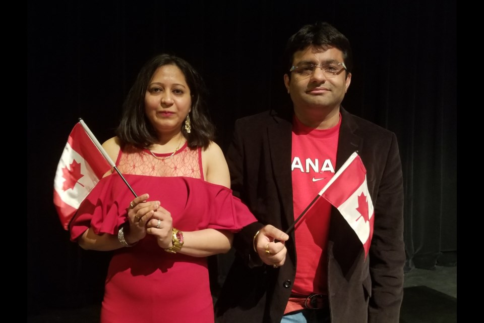 Dharmesh and Mausami Kholwadwala received their Canadian citizenship in Sault Ste. Marie on Tuesday. James Hopkin/SooToday