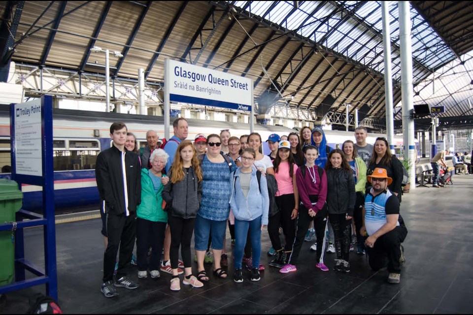 MHDS dancers and families at the Glasgow train station. Supplied photo