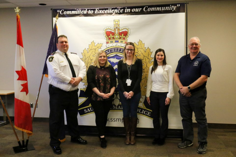 Sault Ste. Marie Police Service has partnered with community agencies in order to launch the Meth Watch program locally. Left to right: Support services inspector Brent Duguay, Sault Ste. Marie Crime Stoppers coordinator Kendra Addison, SSM & Area Drug Strategy co-chair Allison McFarlane,  Pharmacist Marisa De Rubeis and community consultant George Wright. James Hopkin/SooToday