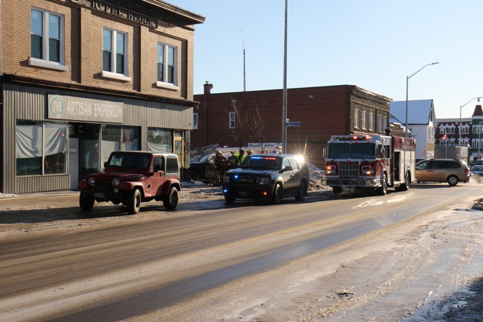 A two vehicle collision that happened shortly after 3:30 p.m. Friday held up traffic at the intersection of Gore and Albert. Police and fire were on the scene. One person was taken to hospital by EMS after being removed from one of the vehicles involved. James Hopkin/SooToday