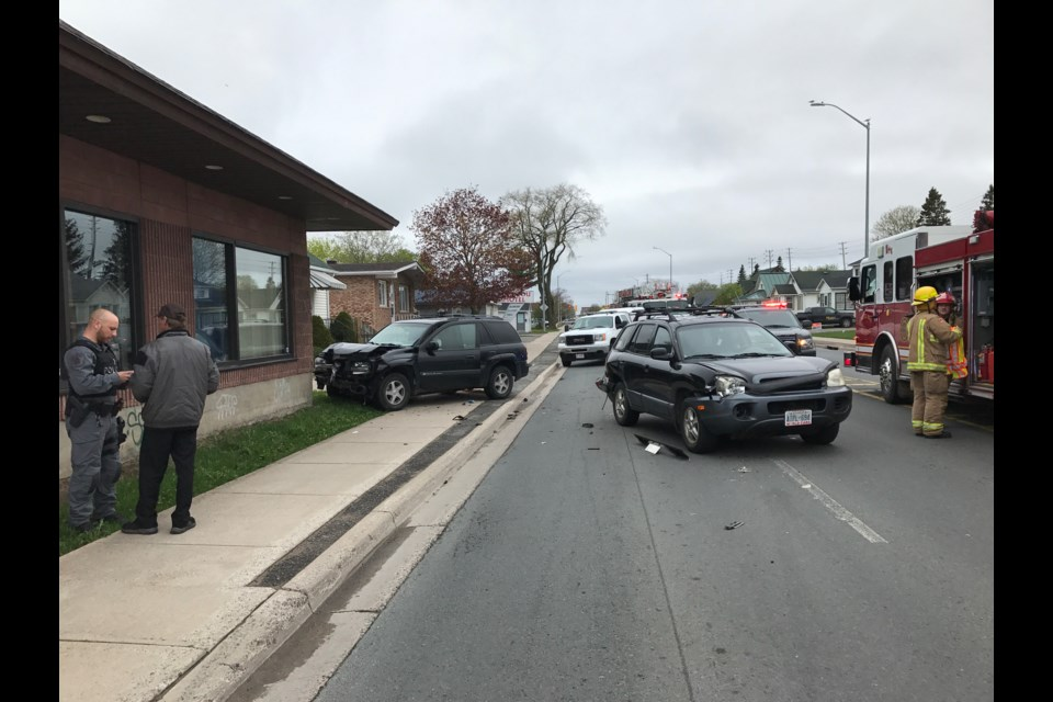 Two of the vehicles involved in a late afternoon crash on Wellington Street East. Jeff Klassen/SooToday