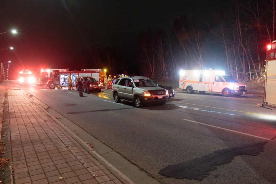 A three vehicle collision happened on the McNabb Street hill between Black Road and Lake Street on Monday evening. Jeff Klassen/SooToday