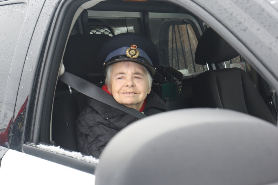 Sault OPP and Community Living Algoma partnered up to give 69 year-old Jackie Vanderklift the ride along of a lifetime. James Hopkin/SooToday