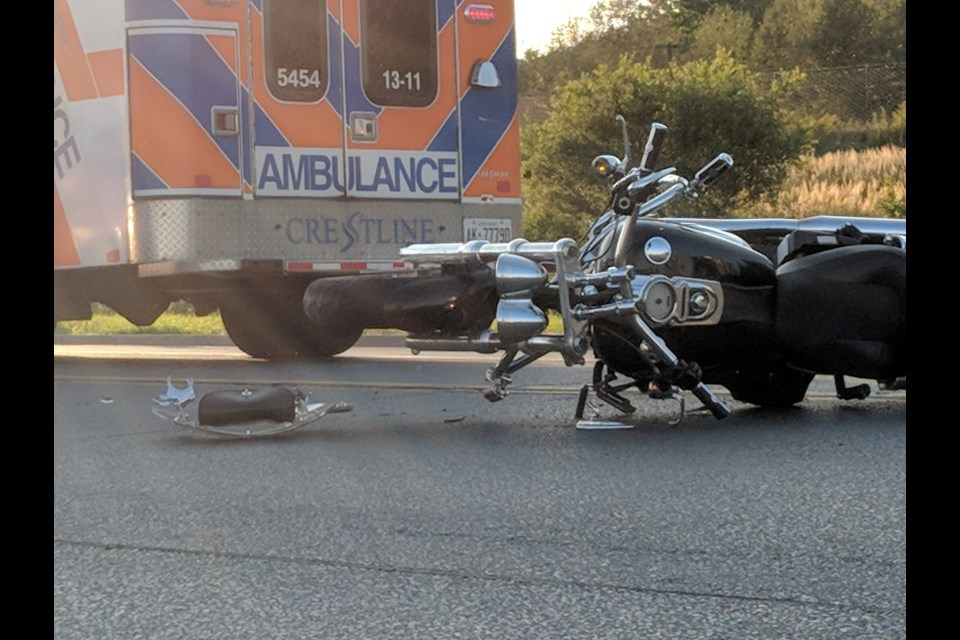 The scene of a motorcycle collision on Trunk Road. Michael Purvis/SooToday