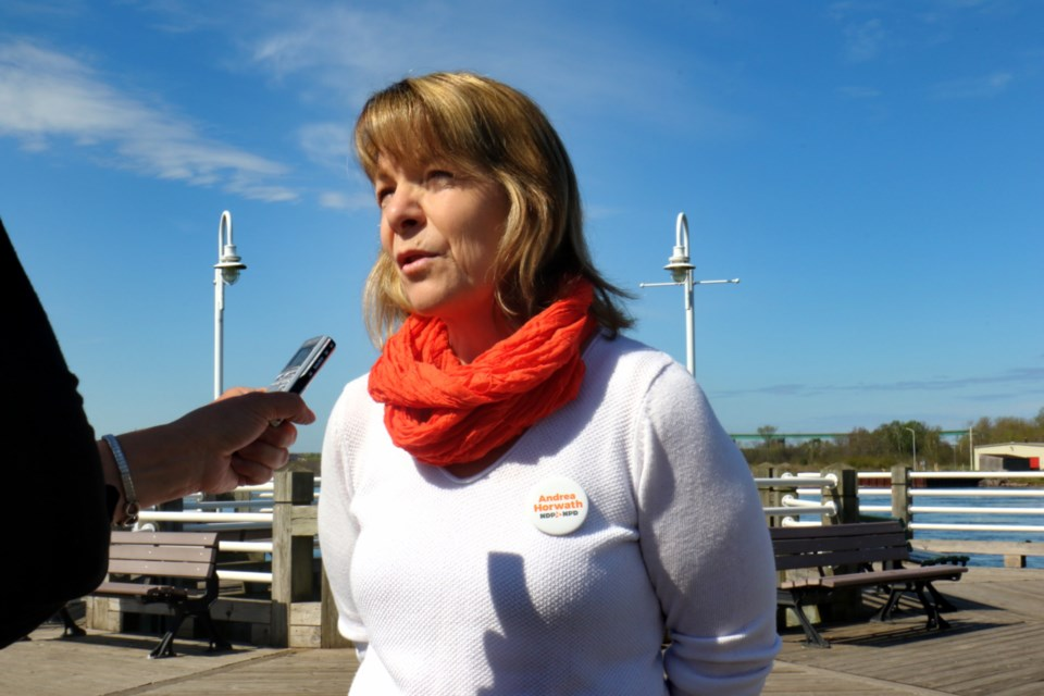 Algoma-Manitoulin NDP incumbent Michael Mantha joined Sault Ste. Marie NDP candidate Michele McCleave-Kennedy in Sault Ste. Marie Tuesday morning to reaffirm its commitment to the Huron Central Railway and passenger rail service in northeastern Ontario. James Hopkin/SooToday