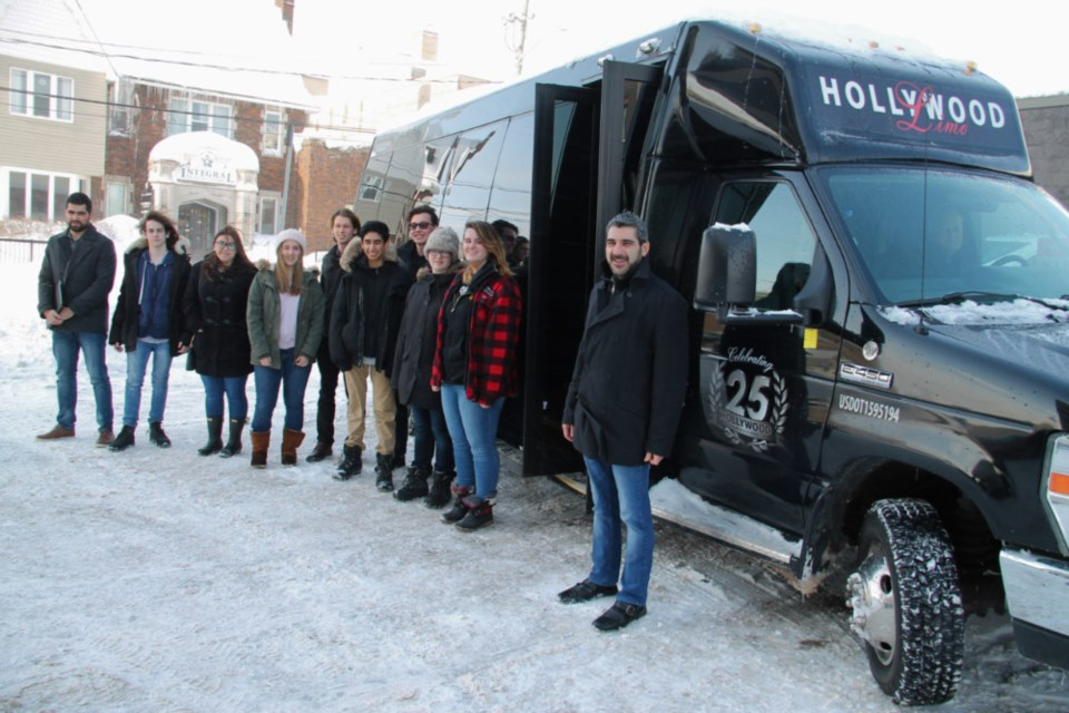Sault MPP Ross Romano and local students prepare to board a bus for a visit to JD Aero as the first stop in a tour of several locally-based industries to investigate  employment prospects for Sault and area youth, Feb. 15, 2019. Darren Taylor/SooToday