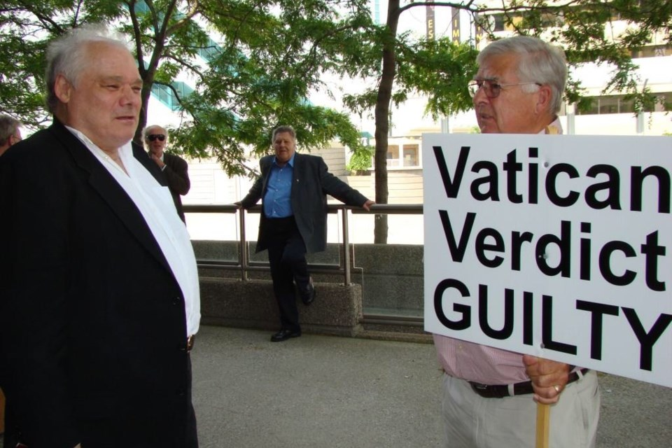 Father Hodgson 'Hod' Marshall (left) outside Windsor, Ont. courthouse in June, 2011 after pleading guilty to sexually abusing 16 boys and one girl in places including Sault Ste. Marie, Sudbury, Toronto and Windsor. Photo used with permission from the Sylvia's Site blog at theinquiry.ca