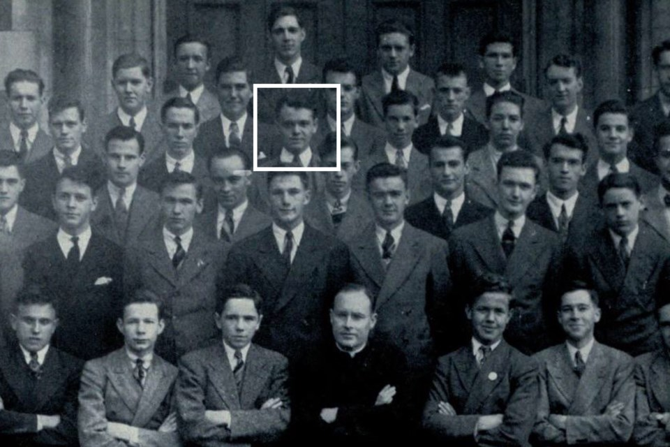 1942 graduating class at St. Michael's College High School in Toronto. Hod Marshall is marked in fourth row