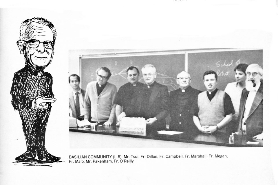 Yearbook photo of 1980s Basilian community at St. Mary's College. Shown behind Father Marshall is Father Leo Campbell, who succeeded Marshall as principal at St. Mary's College in 1985 and would himself later be accused of sexual assault in a million-dollar civil suit launched after Campbell died in 2008