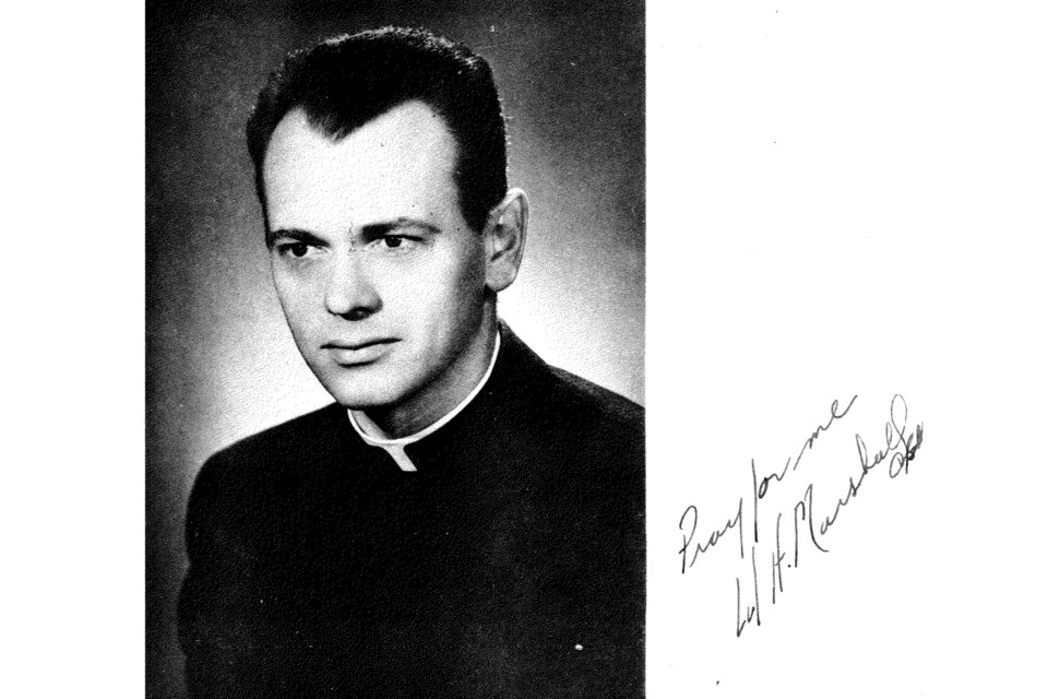 'Pray for me' - Father Hodgson Marshall at Assumption College Catholic High School in Windsor, 1955 yearbook photo
