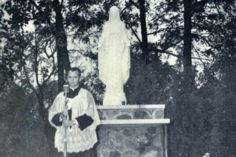 1956 address by Father Marshall at dedication of Shrine to our Lady of Grace, St. Michael's College High School in Toronto. Photo from St. Michael's yearbook, The Tower