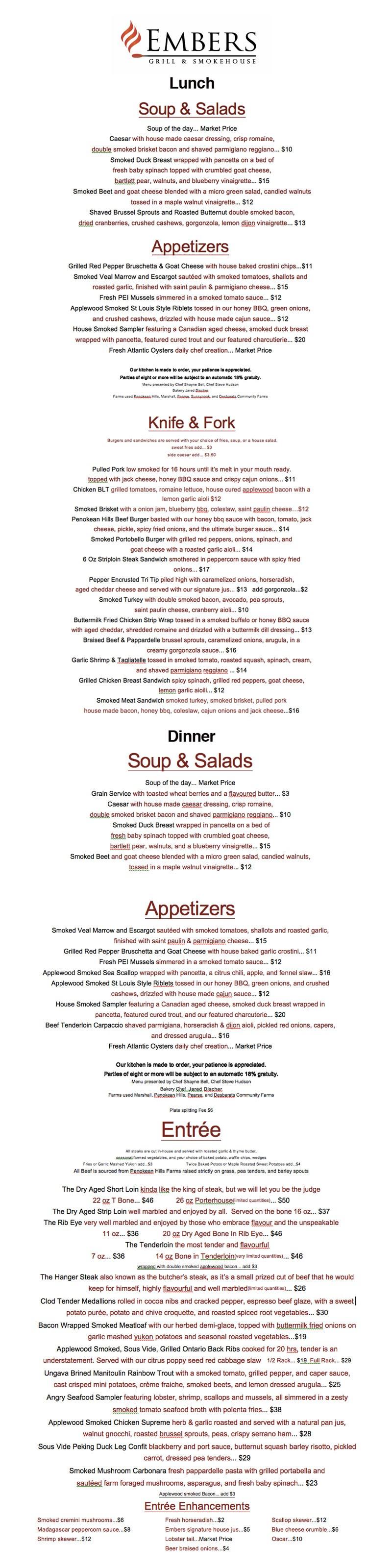 Embers-menu