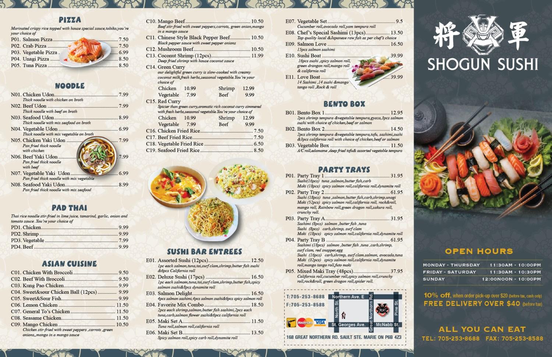 Shogun Shushi menu