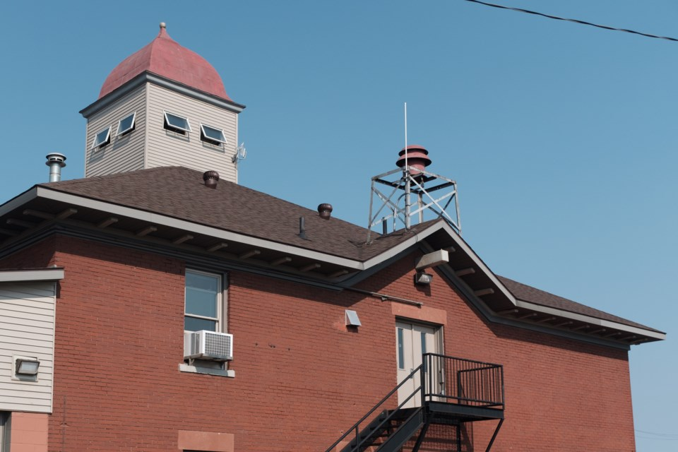 The Sault Ste. Marie, Mich. 'curfew siren' sits above the upper back door of the Sault Ste. Marie Fire Department's fire hall downtown.  The siren's origins are unknown but may date back to the 50s. Jeff Klassen/SooToday