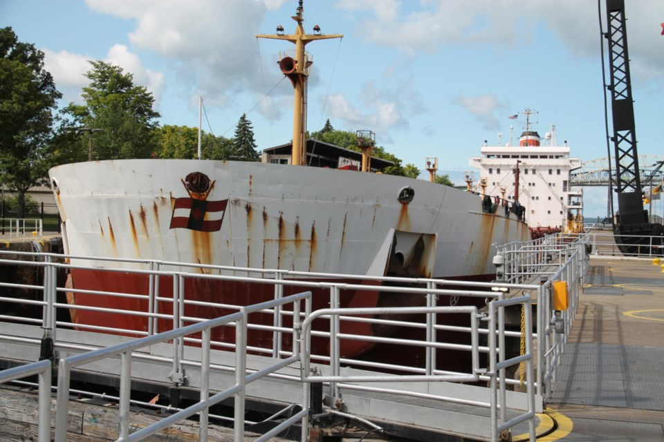 Canada Steamship Line freighter Oakglen passes through Sault Michigan's MacArthur Lock, Aug. 23, 2019. (Darren Taylor/SooToday)