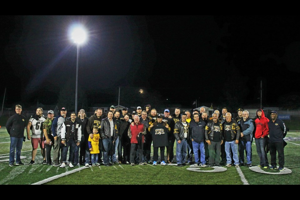 Korah celebrated 50 years of high school football on Friday night at halftime of the senior game between the Colts and St. Mary's Knights. Photo supplied