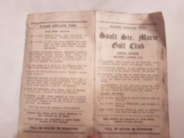 Early rules at the Sault Golf Club. Supplied photo